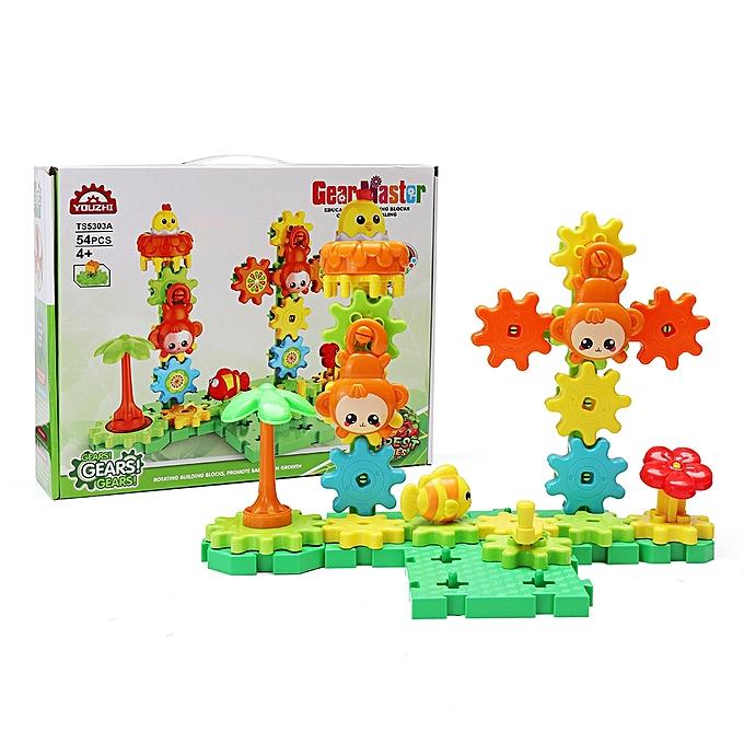 UNIVERSAL MoFun TS5303A-2 Amusement Park DIY rougeating Gear Block Toy Gift Assembly Blocks Set 54PCS Toys- à prix pas cher