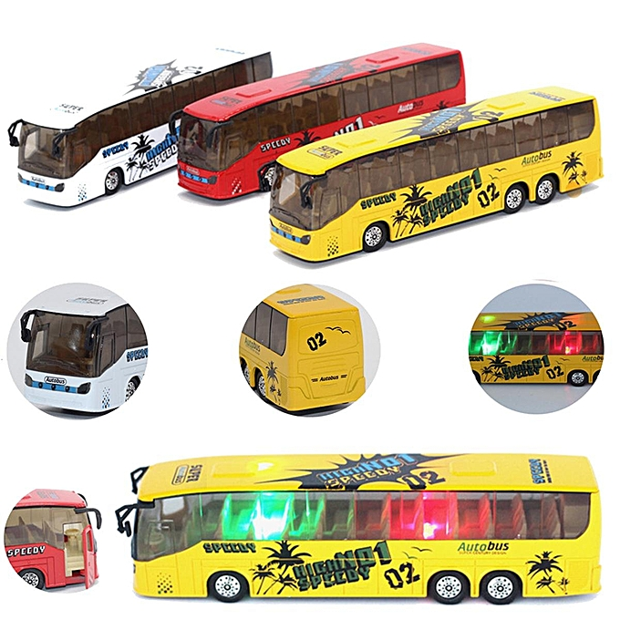 UNIVERSAL 1 50 Scale Pull Back Music Bus Metal Diecast Model LED lumière Vehicle Toys Gifts à prix pas cher