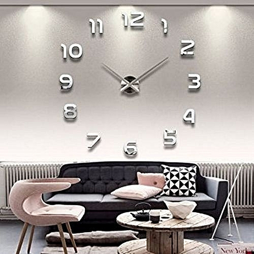 Commandez Générique Grande Horloge Murale Design 3d 120m Silver à