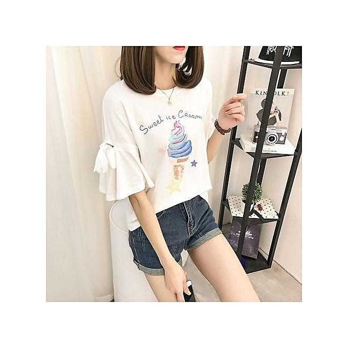 Fashion Summer New Cotton Compassionate Lotus T-shirt Hole Embroidery Bow Shirt à prix pas cher
