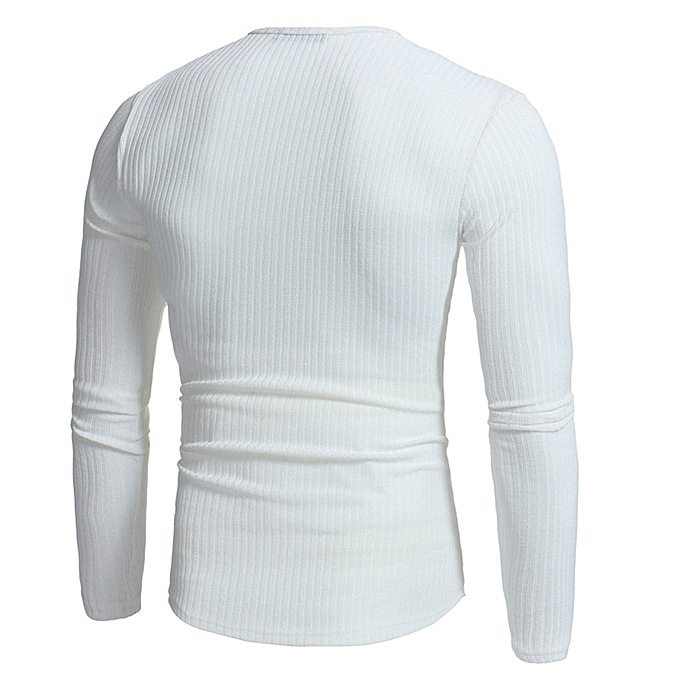 Fashion Man's Autumn Winter Casual V-Neck Men's Slim Sweaters Tops Blouse   -blanc à prix pas cher