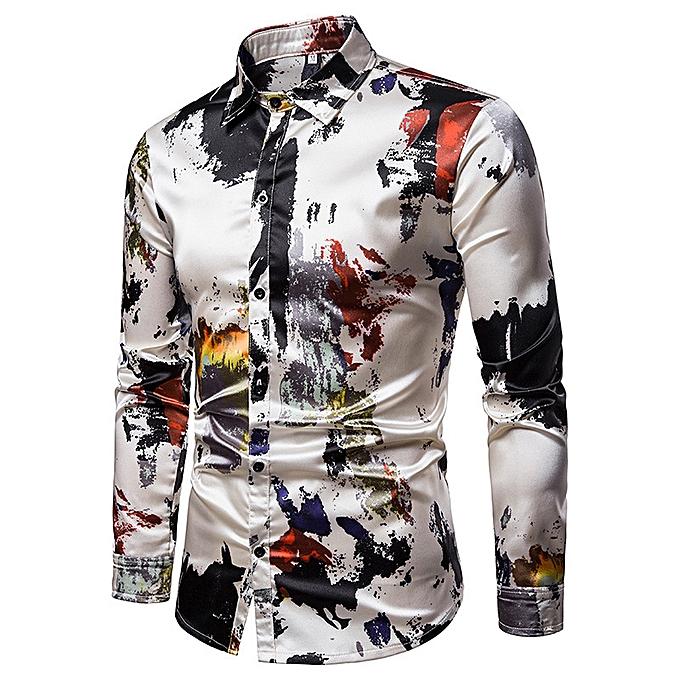 Fashion New fashion Couleur trend body decoration gentlehomme dynamic hommes lapel long-sleeved shirt-Multi à prix pas cher