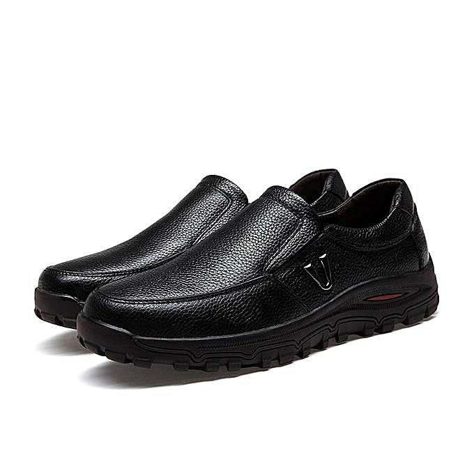 Fashion Fashion Men Large Taille Cow Leather Wear-resistant Casual chaussures Flats-EU à prix pas cher