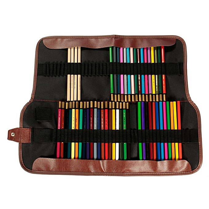 UNIVERSAL Canvas Leather Sketch Holder Pouch Roll Up Pen Case Bag Storage For Pencil 72pcs à prix pas cher