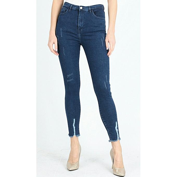 2e75fd6d66ab3 Commandez KATZE Pantalon Jeans taille haute Stretch -bleu à prix pas ...