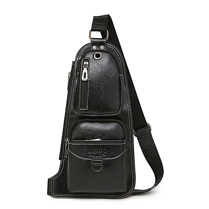 Other JEEP BULUO Brand Men Cross body Bags New Hot Crossbody Shoulder Bag Famous Brand Man's Leather Sling Chest Bags Fashion Casual(6196 noir) à prix pas cher