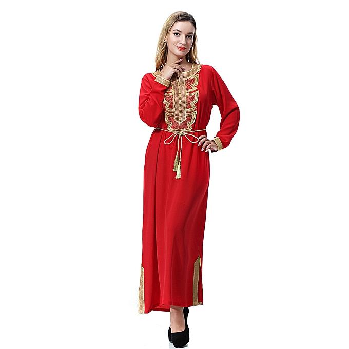Fashion Hiamok Muslim Arab Middle Eastern Ladies' Lace-up Lace-up Bib Long Robe Dress à prix pas cher