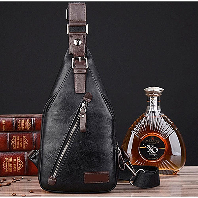 Other Men Leather Vintage Fashion Sling Chest Bag Travel Cross Body Messenger Small Male Shoulder Bag Anti-Theft Casual Packs(noir) à prix pas cher