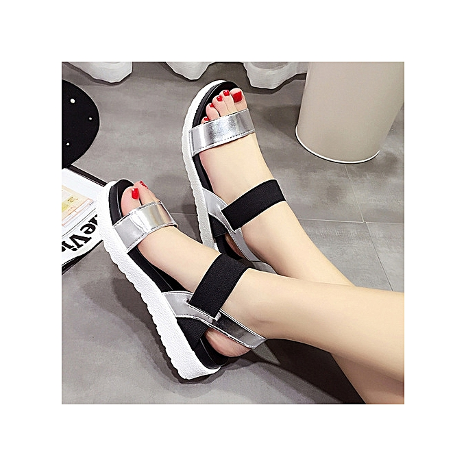 OEM Large Taille Sandals female muffin thick-soled elastic buckle with summer femmes chaussures argent à prix pas cher