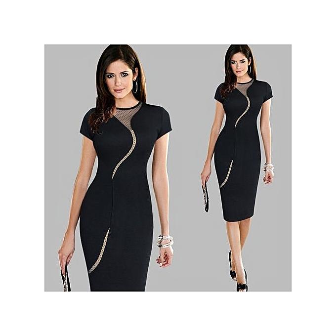 mode femmes Décontracté Contrast Couleurblock mode Office Affaires Work Robe Elegant manche courte Slim Fitted Pencil Bodycon Robe-noir à prix pas cher