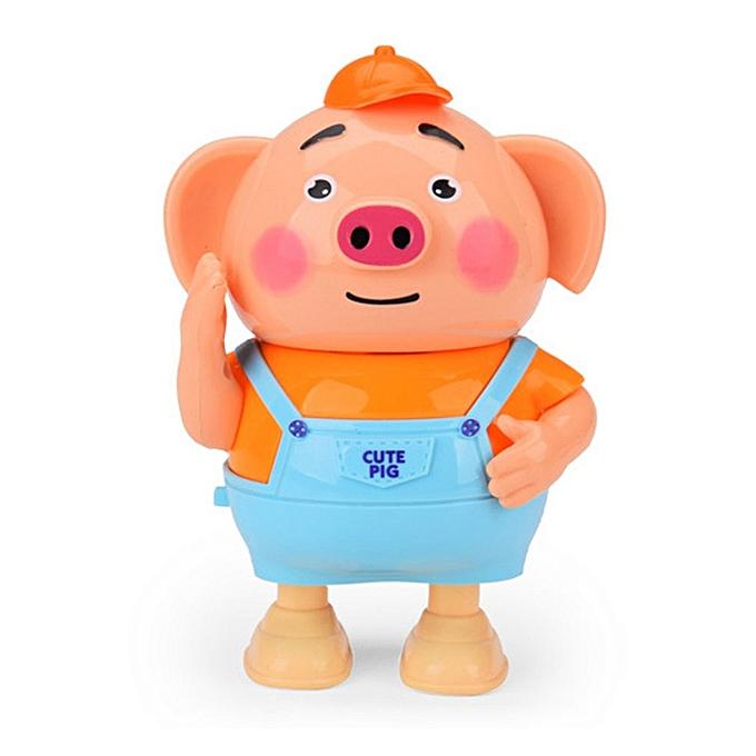 Generic DM Seaweed Dance Dancing Piglet Singing en marchant Cute Pig With lumière Electric Toy-bleu & Orange à prix pas cher