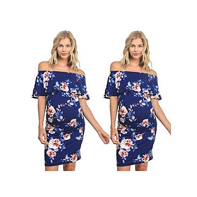 mode Tectores femmes& 039;s Pregnant Print Robe Clothes Maternity Floral Wrap Long SunRobe à prix pas cher