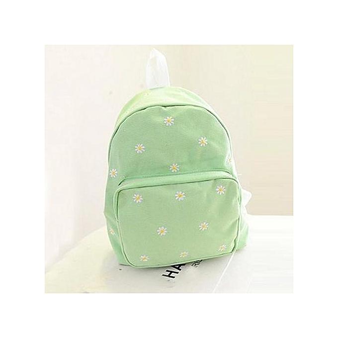 Fashion Singedanfemmes Solid Couleur Embroiderouge Daisies Backpack Shoulder Bag  -Light vert à prix pas cher