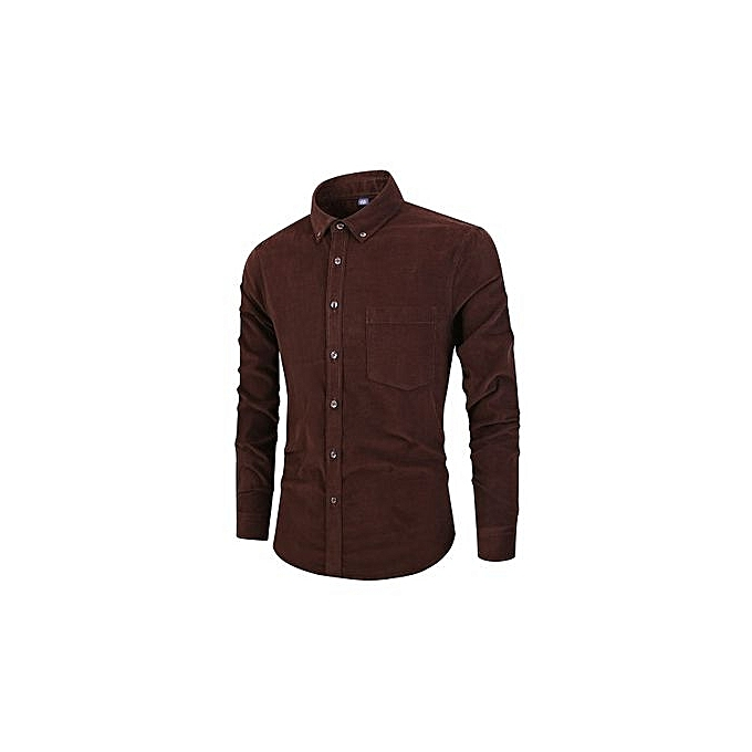 Fashion Men's Autumn New Cotton Men's Corduroy Shirt Long-sleeved Retro Shirt-DARK marron à prix pas cher