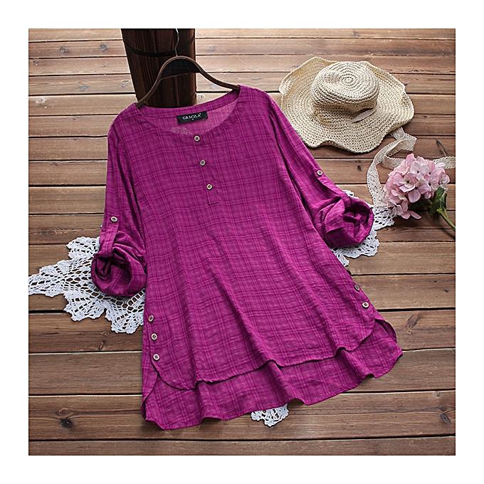 Zanzea femmes Long Sleeve Plaid Check Loose Shirt Asymmetrical Blouse à prix pas cher
