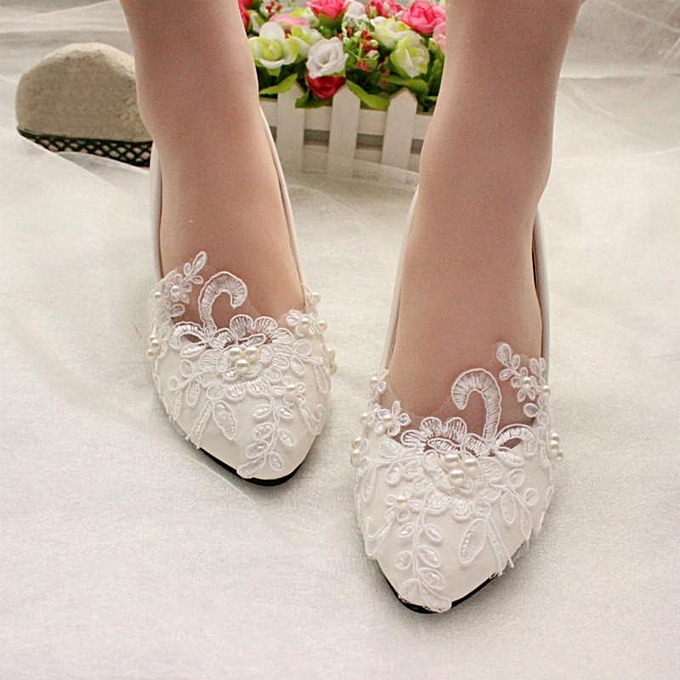 Fashion femmes Pearl Flower Lace Wedding chaussures Prom Bridal Bridesmaid Flat Low Heel chaussures à prix pas cher    Jumia Maroc