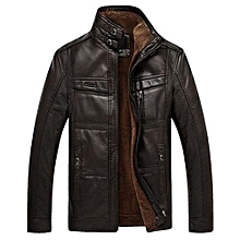 Men  039 s Warm Biker Jacket Stand Collar Faux Leather Inside Fleece Mutil  Pockets c07045d8933