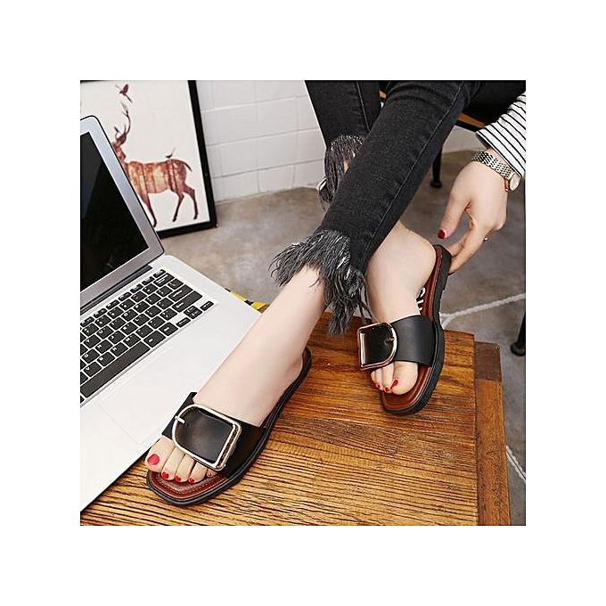 mode Jiahsyc Store femmes été Flat Sandals Slippers Leisure Flops plage Slipper BK 38- noir à prix pas cher