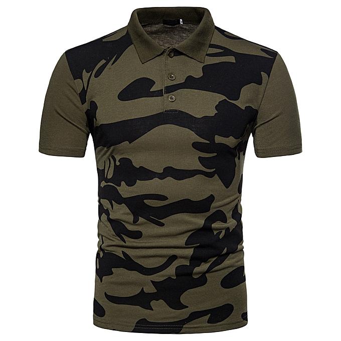 Fashion Men's Casual Polo Camouflage Print Turn-down Collar Shirt Top Blouse GN L à prix pas cher