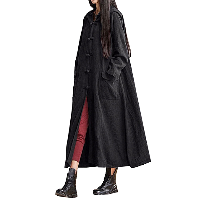 Fashion quanxinhshang femmes Hooded Casual Loose Long Maxi Dress Long Sleeve Dress Coat Jacket BK L à prix pas cher