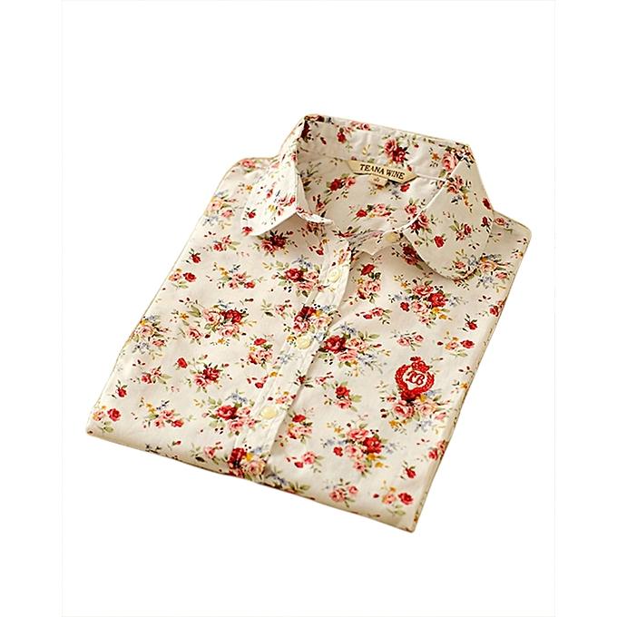 bleuLife femmes Floral Print Long Sleeve Shirts -Beige à prix pas cher
