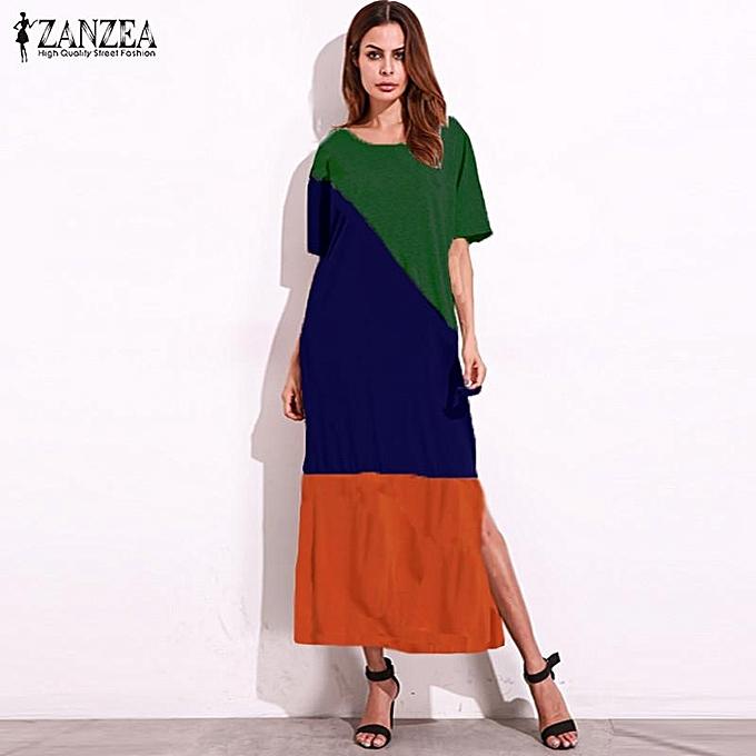 Fashion ZANZEA femmes Round Neck Short Batwing Sleeve Loose Casual Kaftan Summer Patchwork Splice Maxi Long Dress Vestido Plus Taille (Couleur1) à prix pas cher