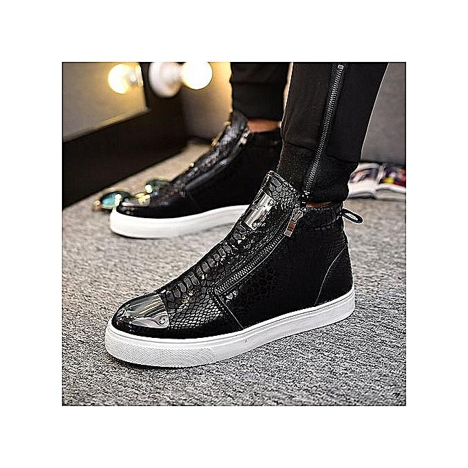 OEM Fashion Men Leisure High-cutting Snake Skin Retro bottes—noir à prix pas cher    Jumia Maroc
