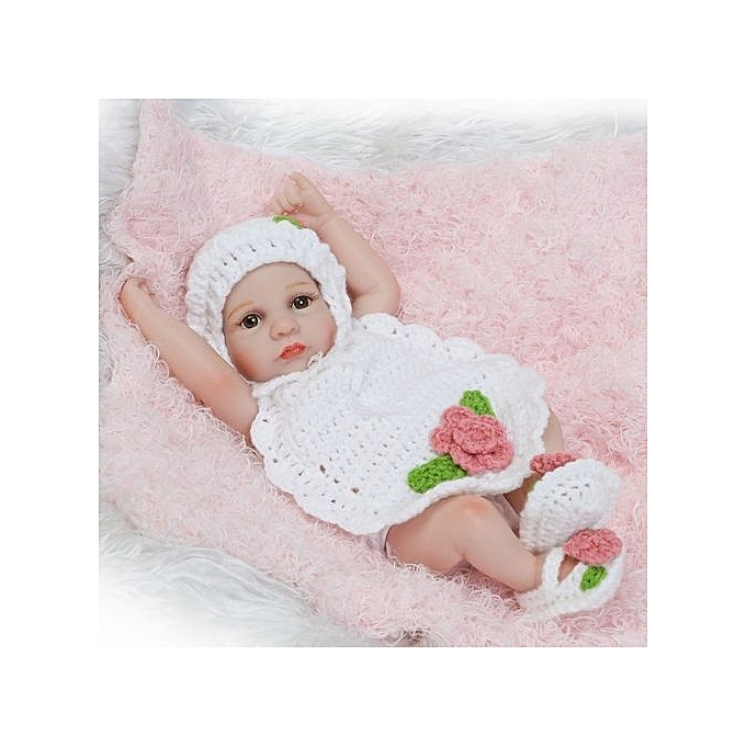 Generic DM 10 Inch Silicone Reborn   Dolls Alive Lifelike Open Eyes Realistic-blanc à prix pas cher