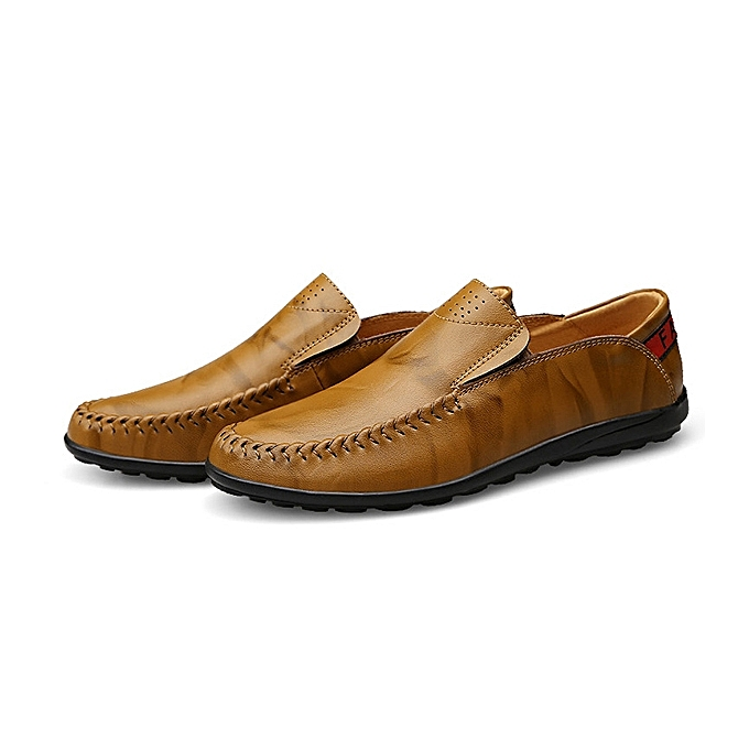 Fashion US Taille 6.5-11.5 Men Leather Slip On Casual Flat Oxfords à prix pas cher