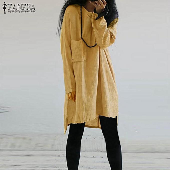 Fashion ZANZEA femmes Plus Taille Casual Long Sleeve Tunic Top Blouse Tee Shirt Mini Short Dress à prix pas cher