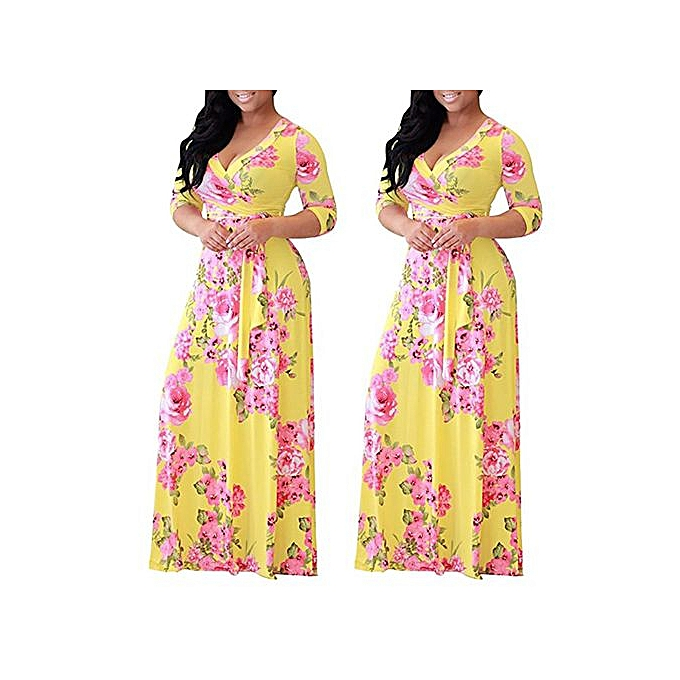 GeneAfrica Plus Taille Floral Printed Party Maxi Dress Ankara Gown Style à prix pas cher