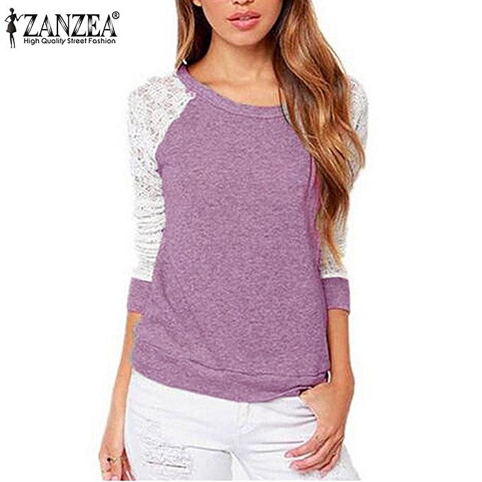Zanzea Top Manches Longues A Encolure Ronde - violet à prix pas cher