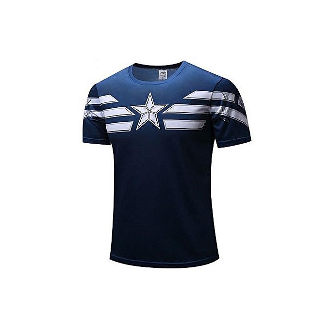 Other T-shirt courte-sleeved Captain America FonctionneHommest Décontracté Robe-bleu à prix pas cher