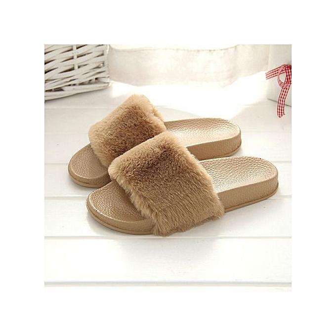 mode Featurouge Wohommes Comfy Plain Rubber Sandals Leisure Plush Non-slip Slippers à prix pas cher