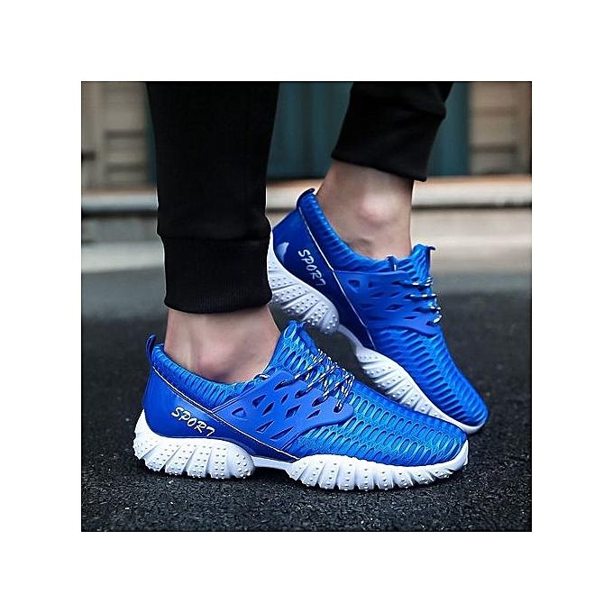 Fashion Mens Running chaussures Lightweight Sports chaussures Summer Breathable Jogging baskets For Man Outdoor Flat-bleu à prix pas cher    Jumia Maroc