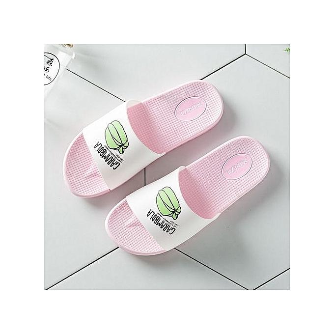Fashion Nice Nice Nice Large Size Cartoon WoHommes  Slides Fashion Pu Leather Beach Shoes WoHommes  Flat Heels Flip Flops Barefoot Slippers -Rose  à prix pas cher  | Jumia Maroc 0c11df