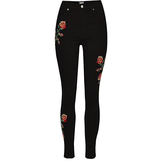 mode femmes Rose Embroidery High Waist Denim Pencil Pants à prix pas cher