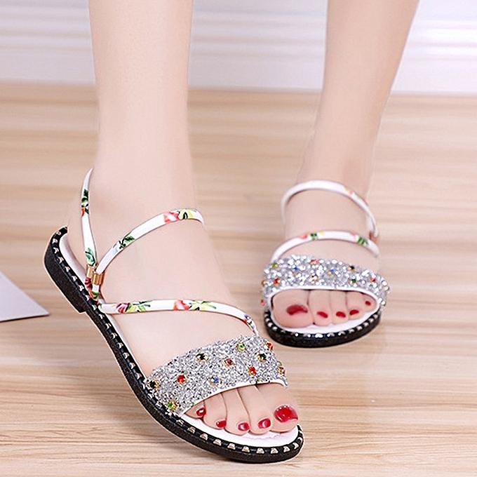 mode jiahsyc store Wohommes mode été Rhinestone FFaibleers Décontracté Sandals plage chaussures à prix pas cher