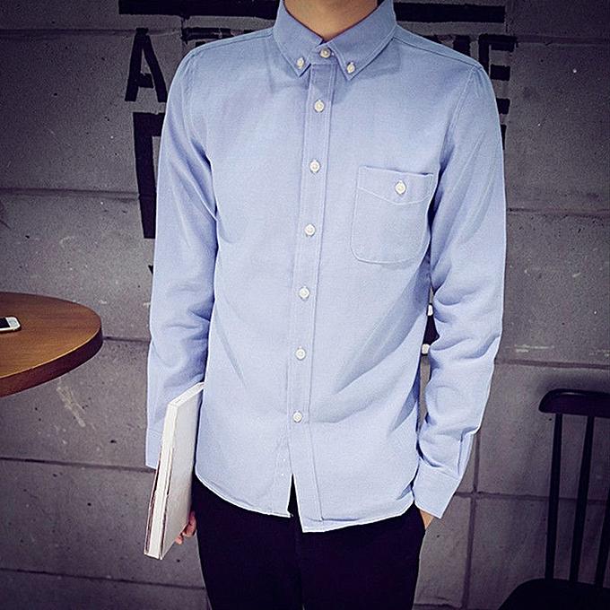 Fashion Mens Long Sleeve Oxford Formal Casual Suits Slim Fit Tee Shirts Blouse Top BU M à prix pas cher