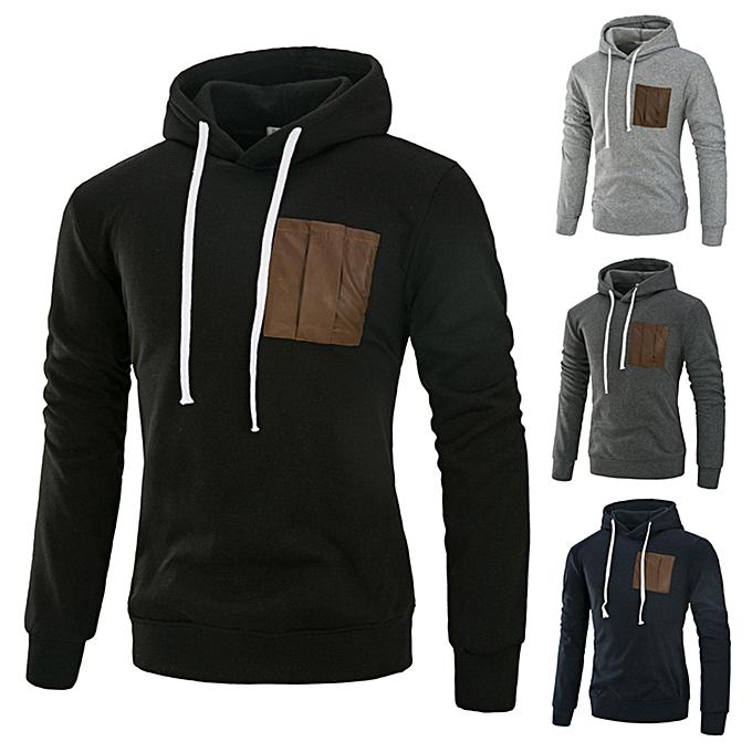 mode Hommes& 039;s Autumn Winter Décontracté Splicing manche longue sweat à capuche Top chemisier Sweatshirt -Navy à prix pas cher