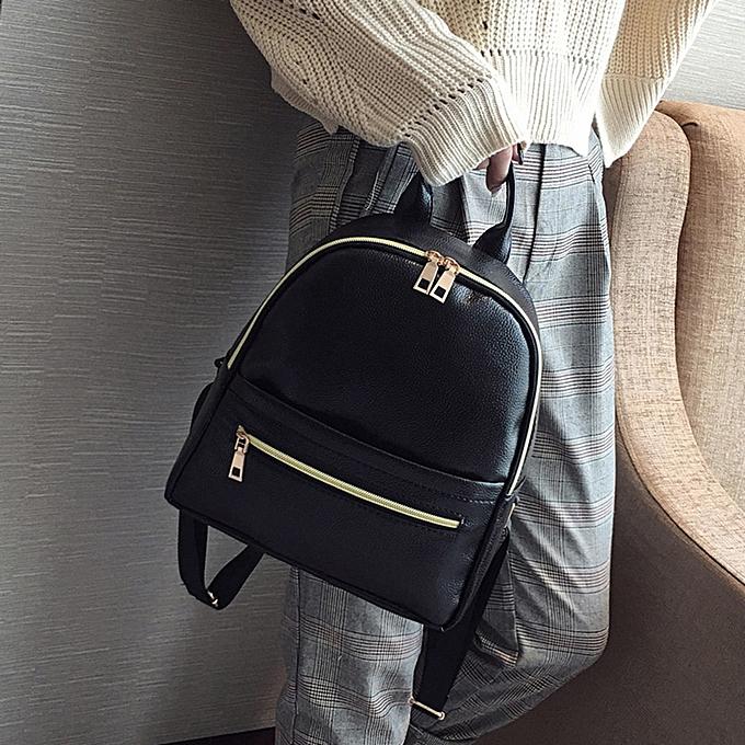 Fashion blicool travel wallet Wohommes Fashion Leather Solid School wallet Travel Backpack wallet B-noir à prix pas cher