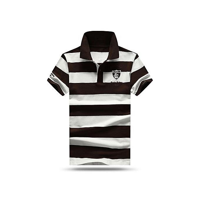 Generic High quality Hommes polo shirt nouveau été Décontracté rayé cotton Pour des hommes polo Contrast Couleur polo shirts-gris à prix pas cher
