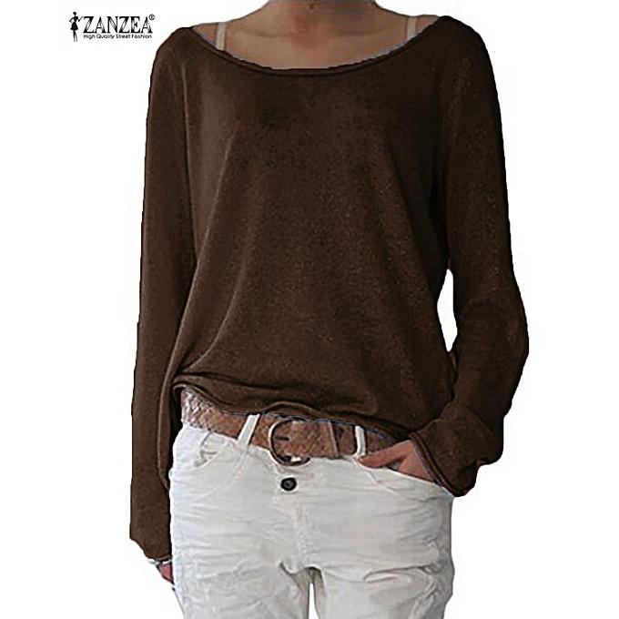 Fashion ZANZEA Fashion femmes T Shirt New Casual O Neck Long Sleeve Solid Couleur Tops Shirts Coffee à prix pas cher