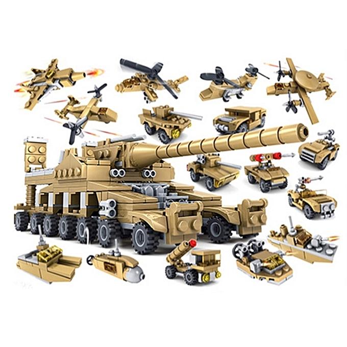 UNIVERSAL KAZI Military Super Tanks Building Blocks 16 in 1 Sets Army Bricks Model Brinquedos Toys, Age Range  6 Years Old Above à prix pas cher