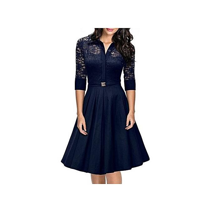 Fashion Wohommes Vintage Fit And Flare Dress Spring Autumn Knee-Length Office Ladies Dress (bleu) à prix pas cher