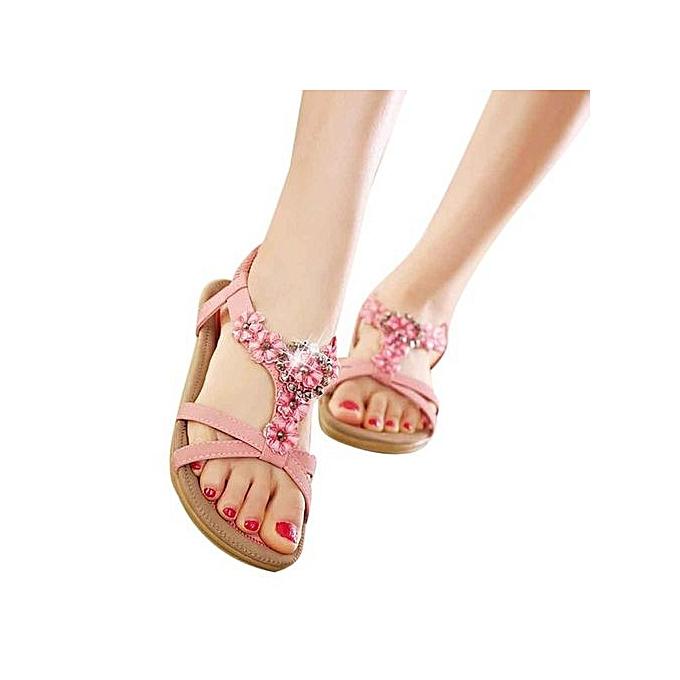 mode Hiamok_Wohommes mode Sweet Beaded  Toe Flats Bohemian Sandals PK 38 à prix pas cher