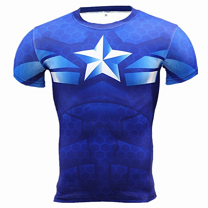 Other Stylish Fast Drying Captain America GYM T Shirt Short Sleeve Fitness Tops  -Captain America B à prix pas cher