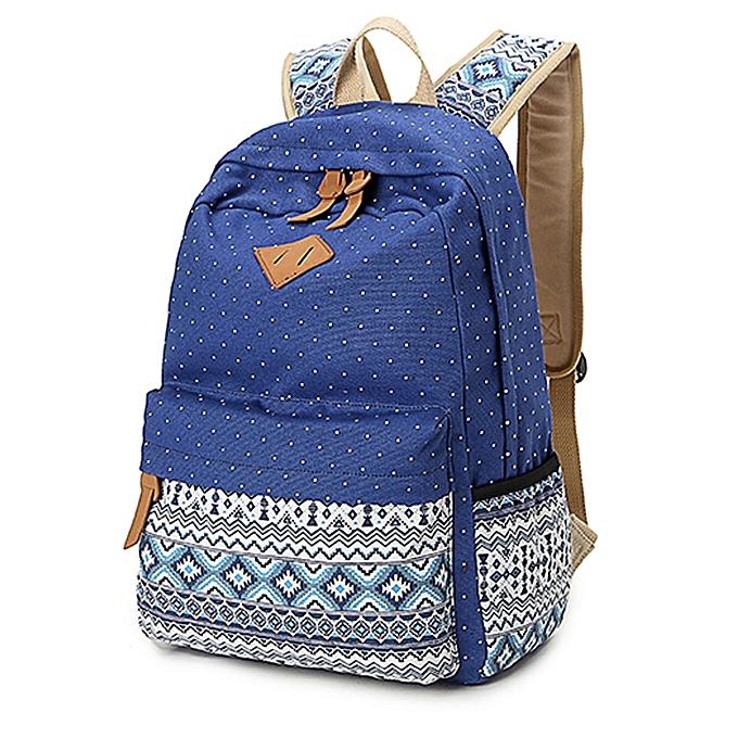 mode femmes sac à doss Print toile Book sac à dos For Students voyage sac -bleu à prix pas cher