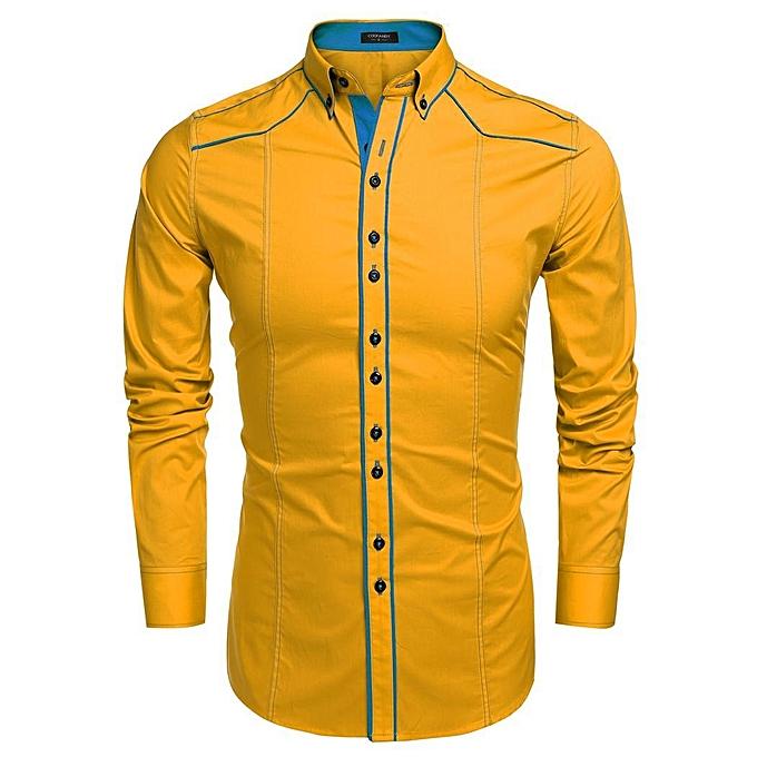 Sunshine hommes mode baissez col hommeches longues contraste couleur coton chemisier chemises sport-Jaune à prix pas cher