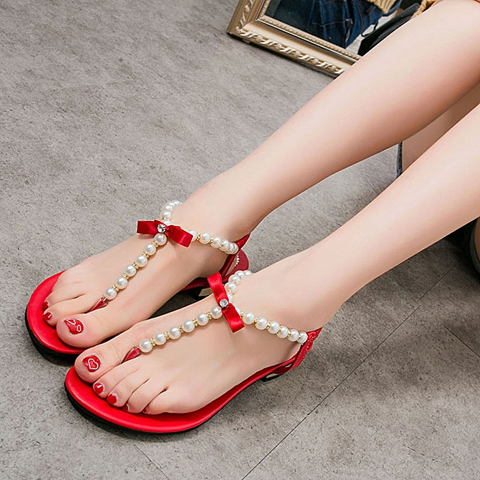 Fashion jiahsyc store Sandals Summer Low Heel Bow Casual chaussures Female Thick With Roman Beach chaussures à prix pas cher